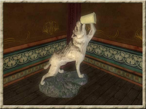 weisswolf mit krug troph e. Black Bedroom Furniture Sets. Home Design Ideas